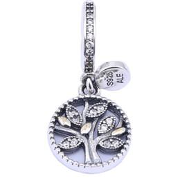 14 k chapado en oro hoja claro CZ Bead 925 plata esterlina árbol de familia cuelga los encantos pendientes para DIY marca pulseras accesorios de joyería desde fabricantes
