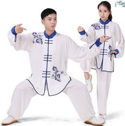 Wholesale Tai Chi Clothing Linen - Embroidered tai chi clothing spring and autumn performance tai chi practice dress blue and white porcelain embroidery