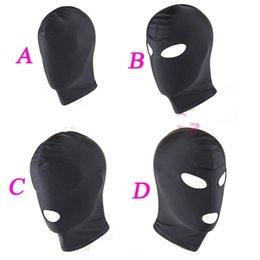2017 masque pour les yeux bondage 4 Style Fetish Mask Hood Jouets sexy Open Mouth Eye Bondage Hood Party Masque Cosplay Hood Headgear Mask Adult Game Sex Products budget masque pour les yeux bondage