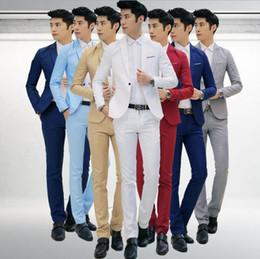 Wholesale Wholesale Fitted Suits - Men Tailored Suit One Button Slim Fit Jacket Tuxedos Blazer Sportcoat Pants Wedding Tuxedos Formal Business Sets 2pcs Set 50Sets LJJO3230