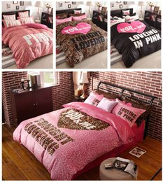 Wholesale Pink Leopard Print Bedding Sets - Victoria pink bedding leopard Romantic bedding sets Teen bedding with Fitted sheet   Flat sheet   Duvet cover, queen size 4pcs