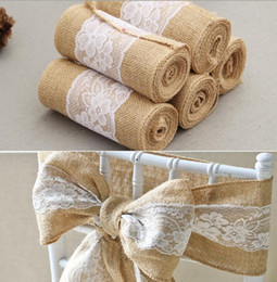 Wholesale Lace Wedding Chair Sashes - 15cm*240cm jute Burlap Lace Hessian Natural Naturally Elegant Burlap Chair Sashes Jute Chair Tie Bow for Rustic Wedding decor