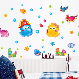 Wholesale water sticker black - Wall Sticker Cartoon Octopus Under Water World Decal Kid Room Bedroom Water Proof Removable Stickers Home Decor Stylish 3sj F R