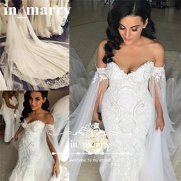 Wholesale Low Back Style Wedding Dresses - Long Caped Vintage Lace Mermaid Wedding Dresses 2017 Queen Style Pearls Plus Size Chapel Train Low Back Vestido De Novia African Bridal Gown
