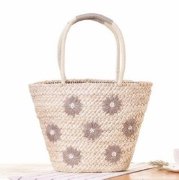 Wholesale Large Handmade Flowers - wholesale brand package New Handmade Embroidery Flower handbag fashion large capacity embroidery Daisy woven bag summer holiday beach bag