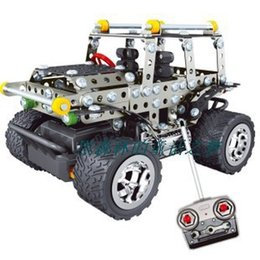 Wholesale Radio Control Off Road - Wholesale- KINGTOY Metal alloy assembling off-road RC remote radio control cars model educational toys boy diy toy