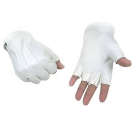 Wholesale White Dancing Gloves - Wholesale- High-Quality Half Finger PU Female Hip-hop Nightclub Dancing Dance Performances White Gold Gloves #LSIW