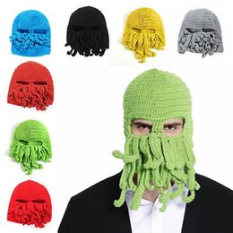 Wholesale Wholesale Biker Caps - Octopus Hats Squid Skull Caps Unisex Handmade Knit Beanie Halloween Funny Party Masks Neck Face Mask Cycling Cosplay Ski Biker 50 pcs YYA581