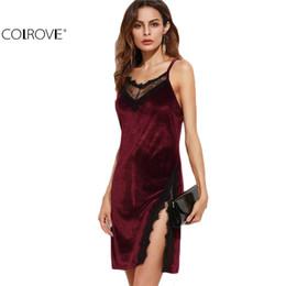 Wholesale Burgundy Lace Trim - Wholesale- COLROVE fashion women bodycon dress Sexy Club Wear Mini Dress Color Block Burgundy Lace Trim Slit Velvet Cami Dress