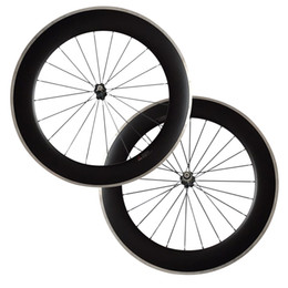 Wholesale rear wheel tracking - 700C 80mm Clincher carbon bike wheels with Alloy brake track Road Bike Wheelset 23mm Width Alloy Carbon Free Shipping