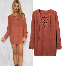 Wholesale Black Stitched Ribbon - Women Knitted Sweater 2017 Sexy Metal Hole V-neck Long Sleeve Lace Up Long Pullover Sweaters Solid Loose Jumper Dress