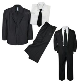 Wholesale Boys Blazer Blue 12 - 4pc Set Infant Boy Toddler Kid Teen Wedding Black Blazer Formal Tuxedo Suit S-20