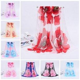 Wholesale Flower Pashmina - Woman Scarf Silk Brand Luxury Print Flower Polyester Ladies Chiffon Scrawl Flower Printed Wrap Scarf YYA466