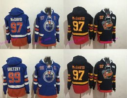 Wholesale Cheap Blue Sweaters - Cheap Hockey Hoodie Edmonton Oilers #97 Connor McDavid #99 Wayne Gretzky Hoodie High Quality Stiched Sweater Jersey Free Shipping
