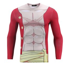 Wholesale skin tight clothes - Onepieces LUFFY Clothes 3D Printed Men Compression Shirt Slim Fit Skin Tight Long Sleeve Bodybuilding Crossfit MMA Champion Shirts BL-048