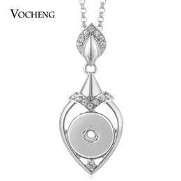 Wholesale Circle Steel Plate - VOCHENG NOOSA Necklace Ginger Snap Button Love Pendant Inlaid Crystal 18mm with Stainless Steel Chain NN-569