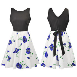 Wholesale Women S High End Wholesale - Summer Print Mini A Line Dresses Women Clothing New Arrival Solid Sleeveless Floral Printed High-end Pleated Dress