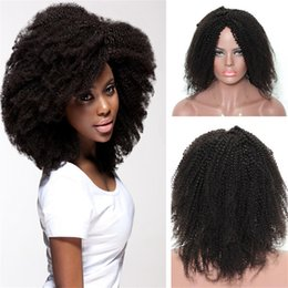 Wholesale American Curls Hair - Africa American Human Hair Wig 1B Indian Virgin Hair Afro Kinky Curl Full Lace Wig for Black Free Shipping
