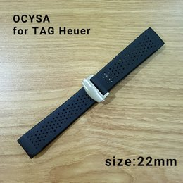 Wholesale Black Leather Tape - ocysa brand 22mm Adhesive tape Black belt watch band strap fit tag heuer watches band