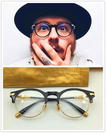 Wholesale Eyeglasses Frame Men Brand - new men brand eyeglasses frency&mercucy eyewear frames vintage round frame gold plated glasses prescription Bebop semi-rimless top quality