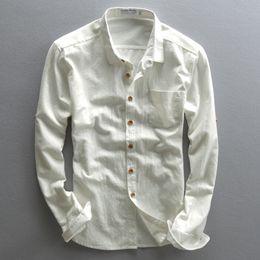 Canada Chemises en lin à manches longues pour hommes à boutonnières de style chinois avec col montant et chemise d'été en coton, vêtements pour hommes, coupe ajustée asiatique taille TS-189 Offre