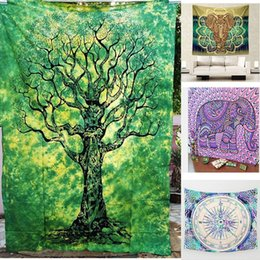 Wholesale Plain Hand Towels - Indian Mandala Tapestry Hippie Home Decorative Wall Hanging Tapestries Boho Beach Towel Elephant Bedspread Table Cloth 130*150cm