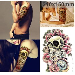 Wholesale Tattoo Arm Sleeves Skulls - Punk Skull Pattern Waterproof Temporary Tatto Shoulder Lower Arm Stickers Sleeve Body Hot Sexy Tattoos Unisex Body Art Tattoos