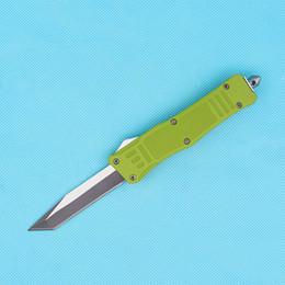 2019 couteau tanto personnalisé Couteaux personnalisés - 716 petit couteau 616 tactique automatique 440C simple Tanto Fine Edge Lame verte manche avec sac en nylon couteau tanto personnalisé pas cher