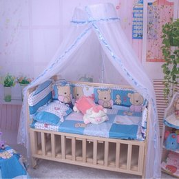 Wholesale Pink White Crib Bedding - Wholesale-Baby Crib Mosquito Net Tent Infant Bed Canopy Crib Netting Stand Kids Baby Bed Accessories Hung Dome Floor White Net Summer