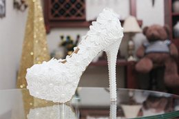 Wholesale Ivory Girl Shoes For Wedding - High Heel Shoes for Wedding Bridal with Lace Pearls Stock Fast Shipping Runway Party Cheap Round Toe Platform Pumps Accessories for Girls