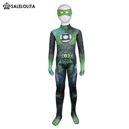 Lanterna verde costume lycra online-Bambini Supereroe Green Lantern Halloween Costume Cosplay Bambini Lanterna verde Lycra Spandex Modello Zentai Tuta per bambino