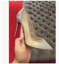 Wholesale Mesh Dress Rhinestones - Women Rhinestone High Heels Lady Elegant Styles Shoes Crystals Pointed Toe Mesh Pumps Woman Red Sole Wedding Shoes