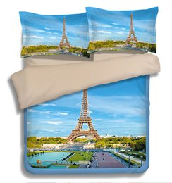 Wholesale Eiffel Tower Quilt Cover - Paris The Eiffel Tower Scenery 3D Bedding Set Single Twin Full Queen King Size Quilt Duvet Cover 3pc 4pc Adult Bed Linens Green Blue