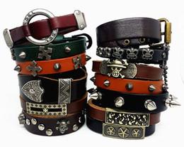Wholesale Leather Bracelet Rock Style - new top men's boy's Genuine Leather copper alloy punk rock style cuff jewelry bracelets wholesale lots