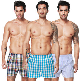 Wholesale men s boxers designs - New Sleep Underpants Ultra-large Size Men Underwear Boxers PLaid Shorts Cotton Blend Casual Design Tight Waistband