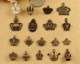 Wholesale 14k Crown Pendant - DIY retro jewelry accessories Princess handmade silver bronze alloy pendant crown charms materials, vintage findings and metal components