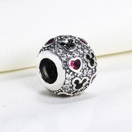 Wholesale Mouse Love - Wholesale Real 925 Sterling Silver Not Plated Michey Mouse Cubic Zirconia European Charms Beads Fit Pandora Snake Chain Bracelet DIY Jewelry