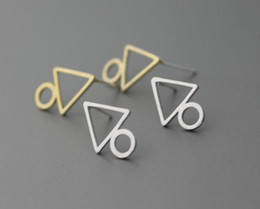 Wholesale Triangle Metal Studs Gold - free shipping fashion jewelry accessories metal copper brass casting triangle circle earrings for women jl-190