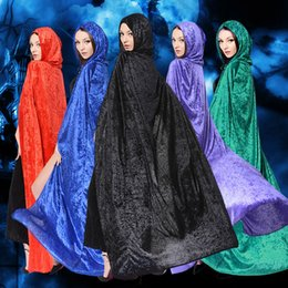 Wholesale Corduroy Cape - Witch Hooded Long Cloak Halloween Robe Vampire Death Cape Adult Halloween Costumes Cosplay Dress Cape 5 Colors b1387