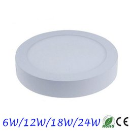 Wholesale Surface Wall Panels - Wholesale- 10pcs lot 6W 12W 18W 24W Super Bright Round Surface LED Panel Wall Ceiling Down Light Mount Bulb Lamp for bathroom illuminate