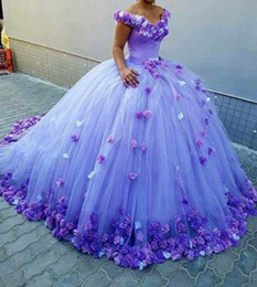 Wholesale Flower Girl Petals - Off Shoulder Quinceanera Dresses 2017 3D Rose Flowers Puffy Ball Gown Orange Tulle Court Train Sweet 16 Birthday Party Girls Bridal Gowns
