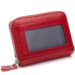 Wholesale Small Leather Pocket Change Holder - Wholesale- Unisex Small Coin Purses 100% First Layer Genuine Cow Leather Zipper Bags With ID Photo Window+ Change Pocket+ Key Holder 2558