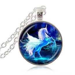 Wholesale Moonlight Jewelry - Moonlight Unicorn Photo Necklace Horse with Wings Jewelry Glass Cabochon Pendant Chain Choker Neckless Women Fashion Handmade Jewelery
