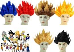 Wholesale Red Anime Wig - Anime Dragon Ball Goku Party Halloween Costume Cosplay Wigs 6 colors IN STOCK 2017 Bragon Ball Party Supplies Red Blue Yellow