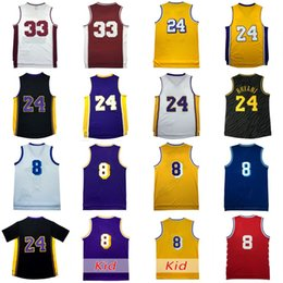 Wholesale Basketball Bryant - 24 Kbe Jersey 8 Short Sleeve Bryant 33 Throwback Basketball Jerseys 100% Stitched Embroidery Logos Retro Basketball Jerseys Wholesale