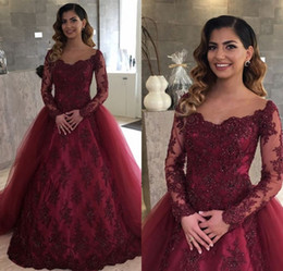 Wholesale long blue tulle skirt - Illusion Neckline Burgundy Lace Long Sleeves Evening Dresses with Removable Skirt Arabic Long Prom Party Gowns Vestidos De Fiesta