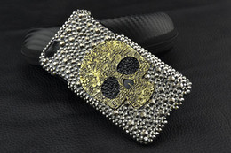 Wholesale Skull Galaxy Note Cases - 3D Rhinestone Metal Skull Phone Case For IPhone 7 6 6S 5 5S 5C 4 Samsung Galaxy Note 5 4 3 2 S6
