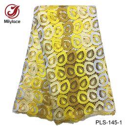 Tecido de malha crocheted on-line-Milylace poliéster tecido de renda asiática com 6 cores tecido de renda de crochê Bordado 5 metros de tecido de renda Guipure para festa PLS-145