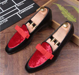 Wholesale Shoe Pageant - New luxury bowknot Design trendsetter pointed Bowtie Flats Shoes Male Mixed color Wedding Prom Pageant Quinceanera Business Oxford shoes