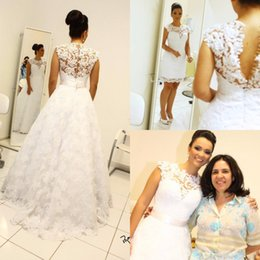 Wholesale Lace Removable Train Dress - Vintage Wedding Dresses with Removable Skirt High Neck Long Detachable Train Bridal Gowns Custom Made Over Skirts